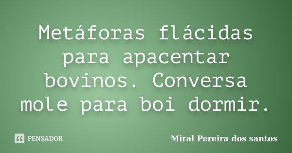 Metáforas flácidas para apacentar bovinos. Conversa mole para boi dormir.... Frase de Miral Pereira dos Santos.