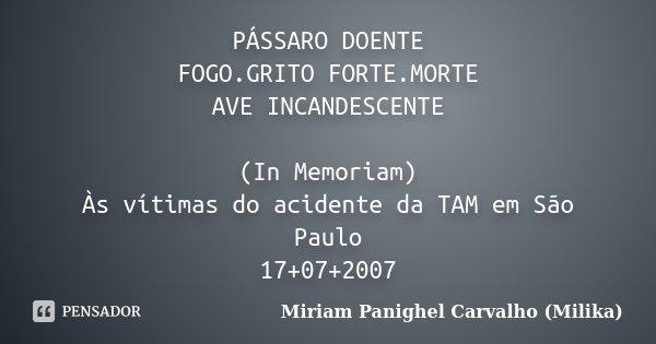 PÁSSARO DOENTE FOGO.GRITO FORTE.MORTE AVE INCANDESCENTE (In Memoriam) Às vítimas do acidente da TAM em São Paulo 17+07+2007... Frase de Miriam Panighel Carvalho (Milika).