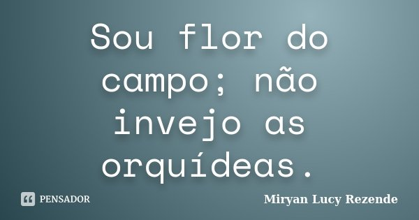 Sou flor do campo;não invejo as orquídeas.... Frase de Miryan Lucy Rezende.