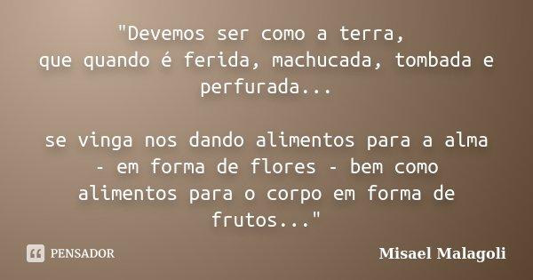 """""""Devemos ser como a terra, que quando é ferida, machucada, tombada e perfurada... se vinga nos dando alimentos para a alma - em forma de flores - bem como ... Frase de Misael Malagoli."""