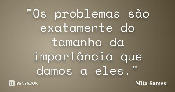 """""""Os problemas são exatamente do tamanho da importância que damos a eles.""""... Frase de Mita Sames."""