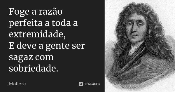 Foge a razão perfeita a toda a extremidade, E deve a gente ser sagaz com sobriedade.... Frase de Molière.