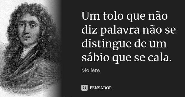 Um tolo que não diz palavra não se distingue de um sábio que se cala.... Frase de Molière.