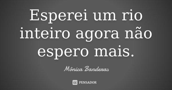 Esperei um rio inteiro agora não espero mais.... Frase de Mônica Banderas.