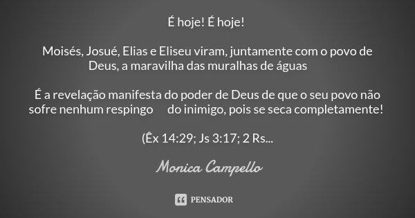 É hoje! É hoje! Moisés, Josué, Elias e Eliseu viram, juntamente com o povo de Deus, a maravilha das muralhas de águas 💦 É a revelação manifesta do poder de Deus... Frase de Monica Campello.
