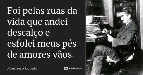 Foi pelas ruas da vida que andei descalço e esfolei meus pés de amores vãos.... Frase de Monteiro Lobato.