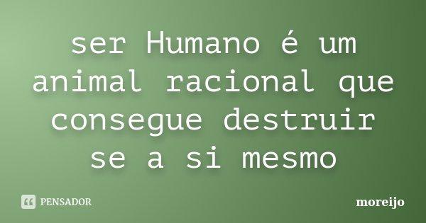 ser Humano é um animal racional que consegue destruir se a si mesmo... Frase de moreijo.