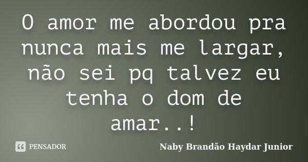 O amor me abordou pra nunca mais me largar, não sei pq talvez eu tenha o dom de amar..!... Frase de Naby Brandão Haydar Junior.