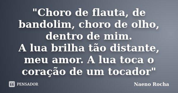 """""""Choro de flauta, de bandolim, choro de olho, dentro de mim. A lua brilha tão distante, meu amor. A lua toca o coração de um tocador""""... Frase de Naeno Rocha."""