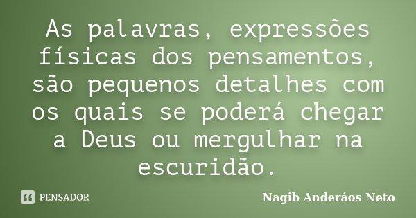 As palavras, expressões físicas dos pensamentos, são pequenos detalhes com os quais se poderá chegar a Deus ou mergulhar na escuridão.... Frase de Nagib Anderáos Neto.