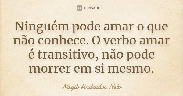 Ninguém pode amar o que não conhece. O verbo amar é transitivo, não pode morrer em si mesmo.... Frase de Nagib Anderáos Neto.