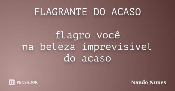 FLAGRANTE DO ACASO flagro você na beleza imprevisível do acaso ... Frase de Nande Nunes.