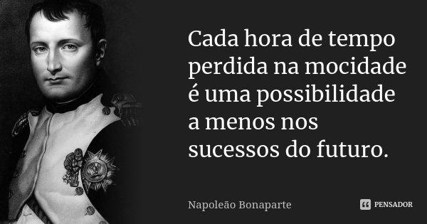 Cada hora de tempo perdida na mocidade é uma possibilidade a menos nos sucessos do futuro.... Frase de Napoleão Bonaparte.