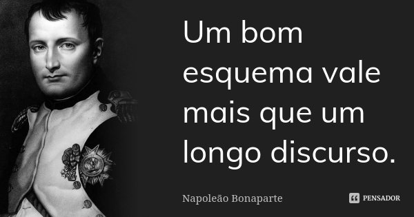 Um bom esquema vale mais que um longo discurso.... Frase de Napoleão Bonaparte.