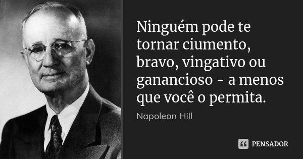 Ninguém pode te tornar ciumento, bravo, vingativo ou ganancioso - a menos que você o permita.... Frase de Napoleon Hill.