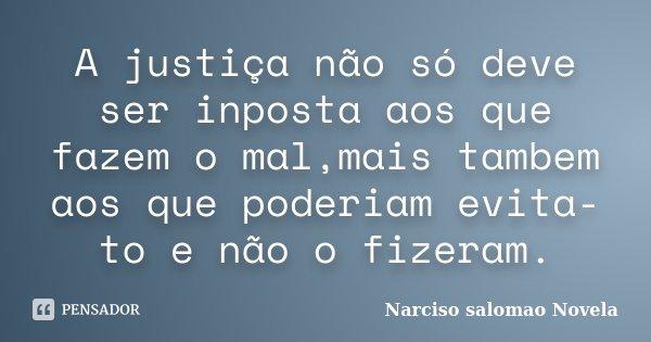 A justiça não só deve ser inposta aos que fazem o mal,mais tambem aos que poderiam evita-to e não o fizeram.... Frase de Narciso salomao novela.