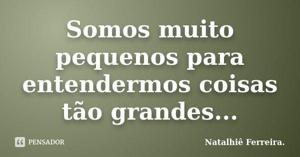 Somos muito pequenos para entendermos coisas tão grandes...... Frase de Natalhiê Ferreira.