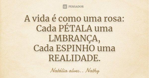 A vida é como uma rosa: Cada PÉTALA uma LMBRANÇA, Cada ESPINHO uma REALIDADE.... Frase de Natalia alves....Nathy.