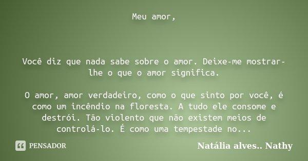 Meu amor, Você diz que nada sabe sobre o amor. Deixe-me mostrar-lhe o que o amor significa. O amor, amor verdadeiro, como o que sinto por você, é como um incênd... Frase de Natalia alves...Nathy.