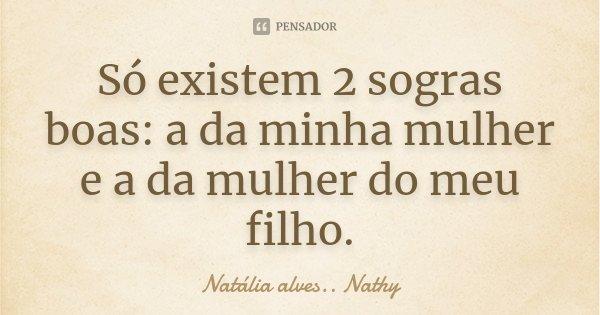 Só existem 2 sogras boas: a da minha mulher e a da mulher do meu filho.... Frase de Natalia alves...Nathy.