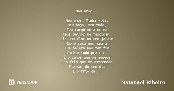 Meu Amor... Meu amor, Minha vida, Meu anjo, Meu tudo, Teu corpo me alucina Teus beijos me fascinam. Eis uma flor no meu jardim Não é rosa nem jasmim Tua beleza ... Frase de Natanael Ribeiro.
