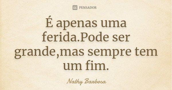 É apenas uma ferida.Pode ser grande,mas sempre tem um fim.... Frase de Nathy Barbosa.