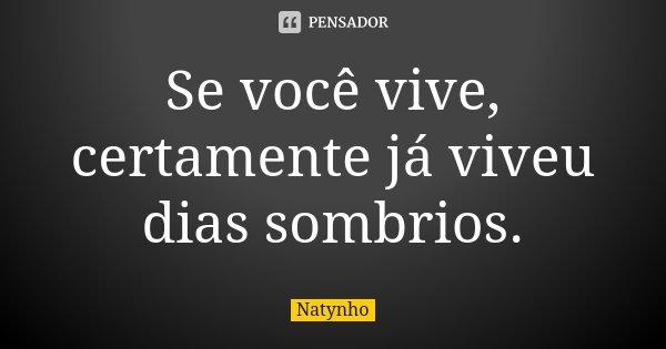 Se você vive, certamente já viveu dias sombrios.... Frase de Natynho.