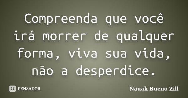 Compreenda que você irá morrer de qualquer forma, viva sua vida, não a desperdice.... Frase de Nauak Bueno Zill.