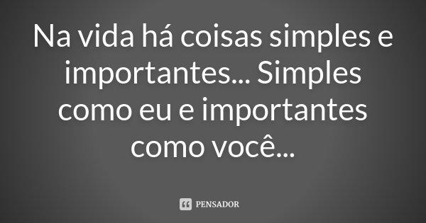 Na vida há coisas simples e importantes... Simples como eu e importantes como você...... Frase de Desconhecido.