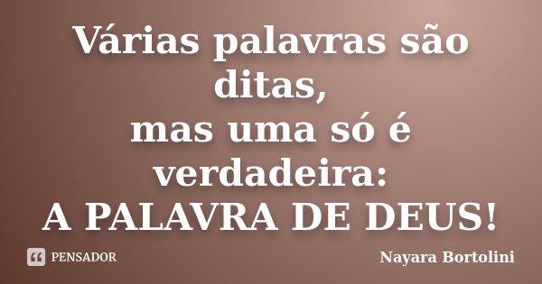 Várias palavras são ditas, mas uma só é verdadeira: A PALAVRA DE DEUS!... Frase de Nayara Bortolini.