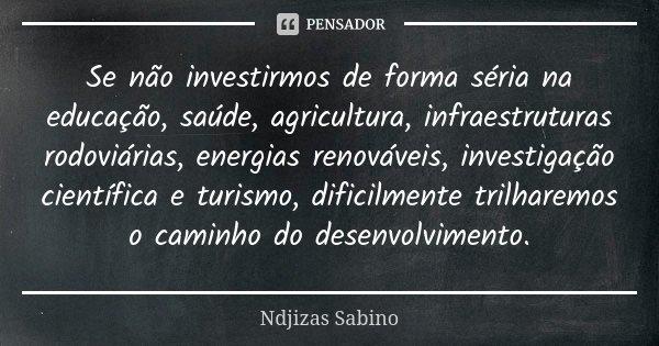 Se não investirmos de forma séria na educação, saúde, agricultura, infraestruturas rodoviárias, energias renováveis, investigação científica e turismo, dificilm... Frase de Ndjizas Sabino.