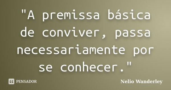 """""""A premissa básica de conviver, passa necessariamente por se conhecer.""""... Frase de Nélio Wanderley."""