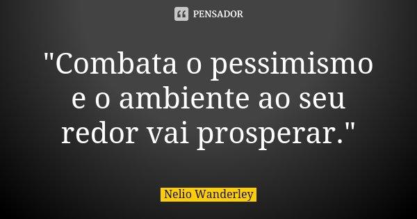 """""""Combata o pessimismo e o ambiente ao seu redor vai prosperar.""""... Frase de Nélio Wanderley."""