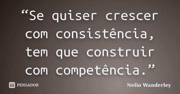 """""""Se quiser crescer com consistência, tem que construir com competência.""""... Frase de Nélio Wanderley."""