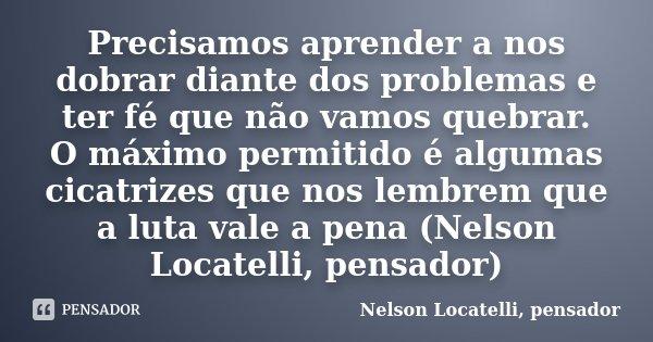 Precisamos aprender a nos dobrar diante dos problemas e ter fé que não vamos quebrar. O máximo permitido é algumas cicatrizes que nos lembrem que a luta vale a ... Frase de Nelson Locatelli, pensador.