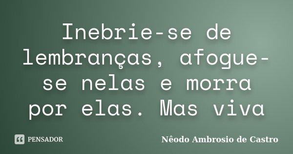 Inebrie-se de lembranças, afogue-se nelas e morra por elas. Mas viva... Frase de Nêodo Ambrosio de Castro.