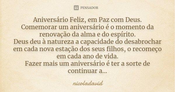 Aniversário Feliz Em Paz Com Deus Nicoladavid