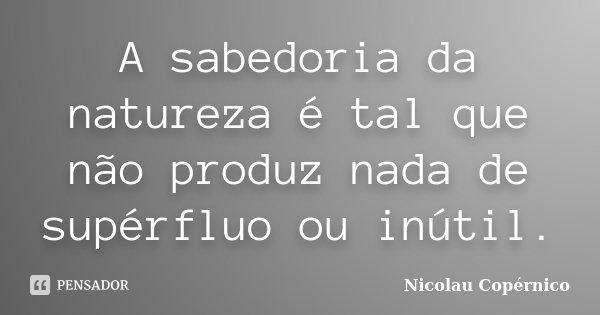 A sabedoria da natureza é tal que não produz nada de supérfluo ou inútil.... Frase de Nicolau Copérnico.