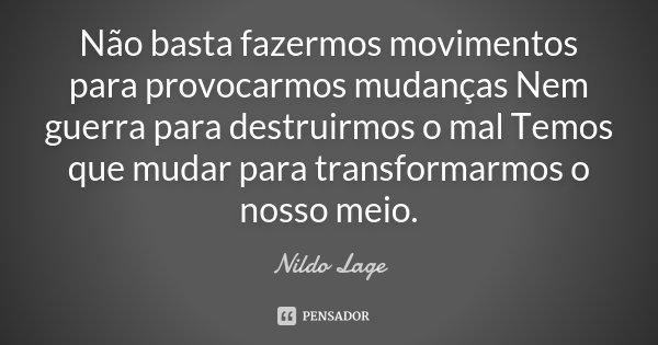 Não basta fazermos movimentos para provocarmos mudanças Nem guerra para destruirmos o mal Temos que mudar para transformarmos o nosso meio.... Frase de Nildo Lage.