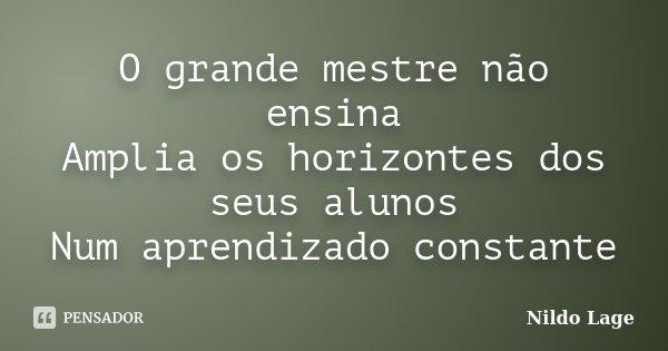 O grande mestre não ensina Amplia os horizontes dos seus alunos Num aprendizado constante... Frase de Nildo Lage.