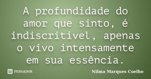 A profundidade do amor que sinto, é indiscritível, apenas o vivo intensamente em sua essência.... Frase de Nilma Marques Coelho.