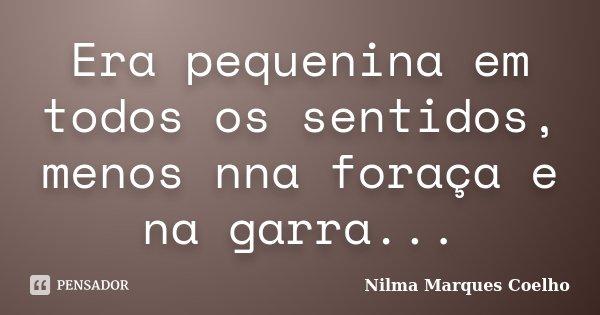 Era pequenina em todos os sentidos, menos nna foraça e na garra...... Frase de Nilma Marques Coelho.