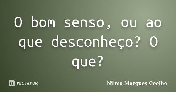 O bom senso, ou ao que desconheço? O que?... Frase de Nilma Marques Coelho.