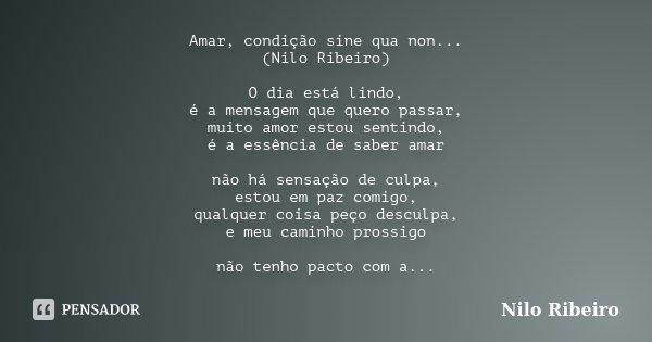Amar, condição sine qua non... (Nilo Ribeiro) O dia está lindo, é a mensagem que quero passar, muito amor estou sentindo, é a essência de saber amar não há sens... Frase de Nilo Ribeiro.
