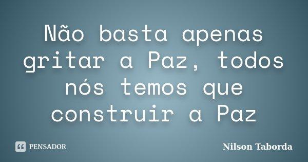 Não basta apenas gritar a Paz, todos nós temos que construir a Paz... Frase de Nilson Taborda.