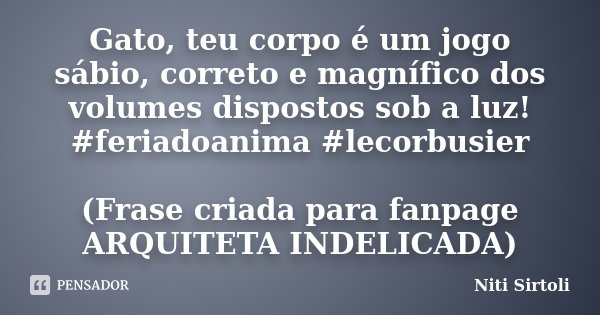 Gato, teu corpo é um jogo sábio, correto e magnífico dos volumes dispostos sob a luz! #feriadoanima #lecorbusier (Frase criada para fanpage ARQUITETA INDELICADA... Frase de Niti Sirtoli.