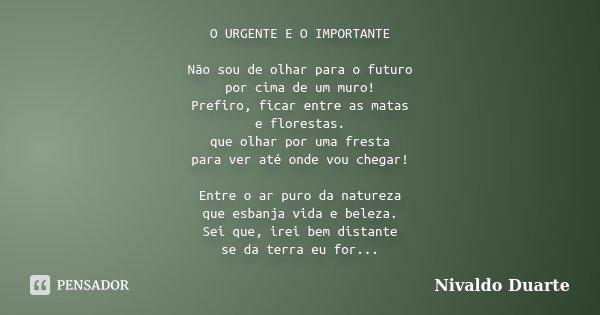 O URGENTE E O IMPORTANTE Não sou de olhar para o futuro por cima de um muro! Prefiro, ficar entre as matas e florestas. que olhar por uma fresta para ver até on... Frase de Nivaldo Duarte.
