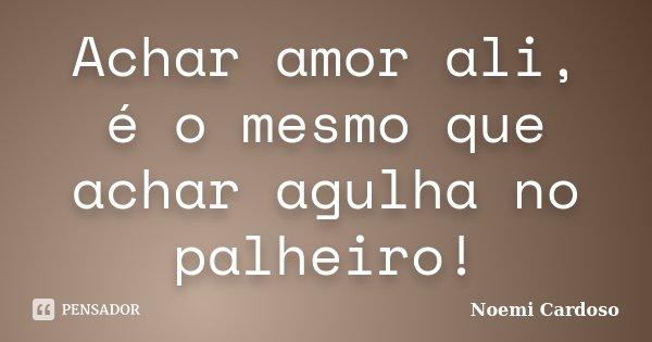 Achar amor ali, é o mesmo que achar agulha no palheiro!... Frase de Noemi Cardoso.