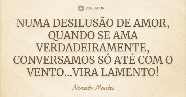 NUMA DESILUSÃO DE AMOR, QUANDO SE AMA VERDADEIRAMENTE, CONVERSAMOS SÓ ATÉ COM O VENTO...VIRA LAMENTO!... Frase de Nonato Montes.