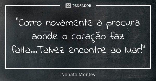 """""""Corro novamente a procura aonde o coração faz falta...Talvez encontre ao luar!""""... Frase de Nonato Montes."""